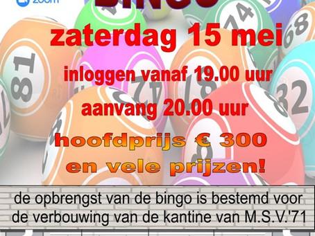 M.S.V.'71 Mega Online Bingo op zaterdag 15 mei