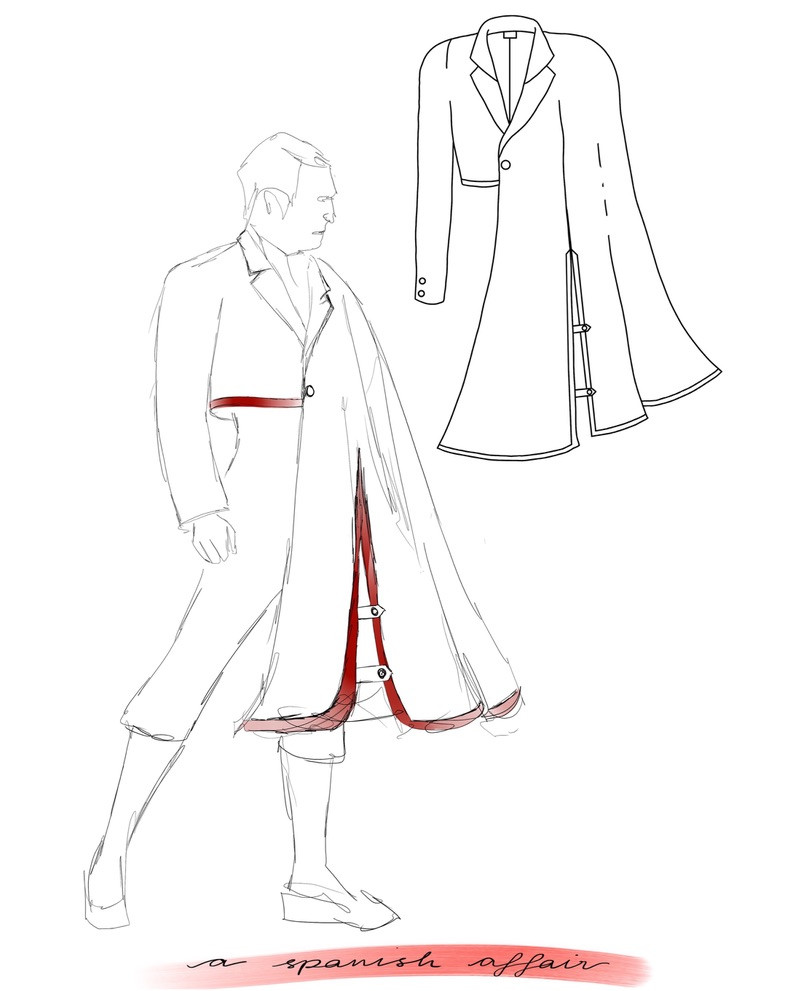 A drawing of an a outfit. We see a man stood in a powerful pose wearing a short jacket with a long cape draped over one arm. It is reminiscent of a matador