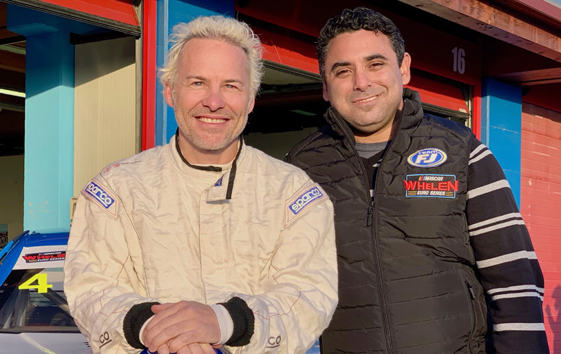 Jacques Villeneuve (left) with Go Fas Racing owner Alain Lord Munir. Credits: NASCAR Whelen Euro Series
