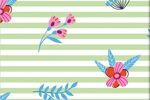 Green Stripes and Flowers