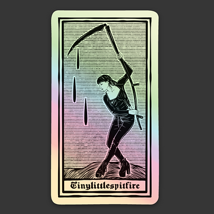 Holographic Reaper Tarot Sticker