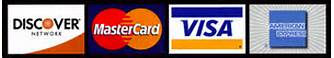 Credit cards accepted - Discover, Master Card, Visa, and American Express