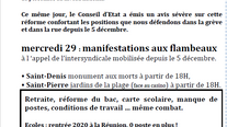 Manifestations aux flambeaux mercredi 29 Saint-Denis et Saint-Pierre et bataille manque contre ferme