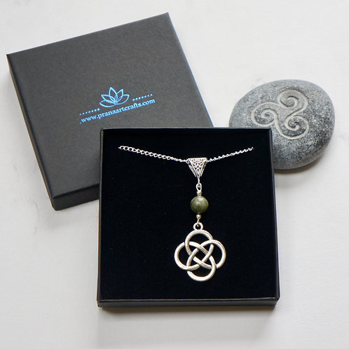 Shield Knot Necklace with Connemara Marble Bead - Celtic Jewellery - Handcrafted Pendant and Necklace