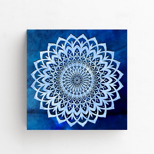 Blue Mandala Flower on Poster