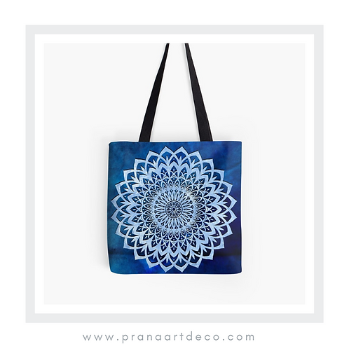 Blue Mandala Flower on Tote Bag