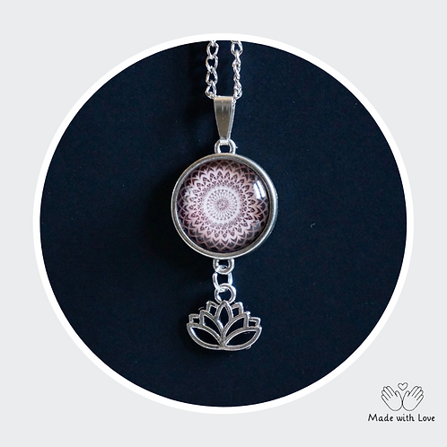 Pink & Brown Mandala Flower Necklace - Round Pendant