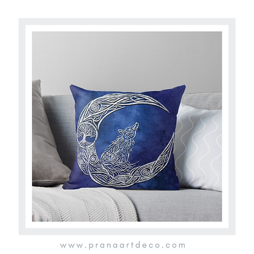 The Wolf & The Moon on Throw Pillow