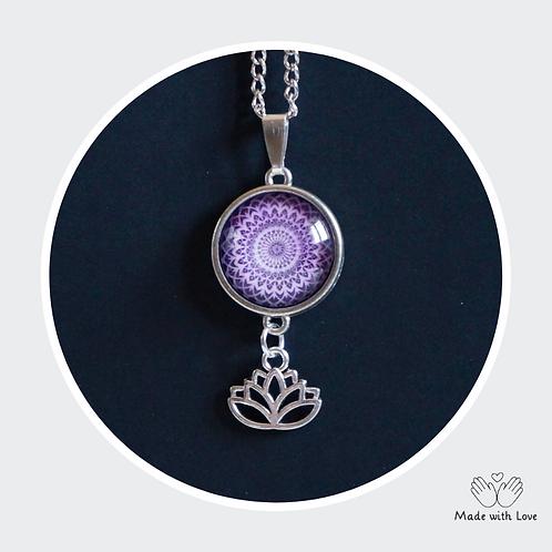 Lilac & Purple Mandala Flower Necklace - Round Pendant