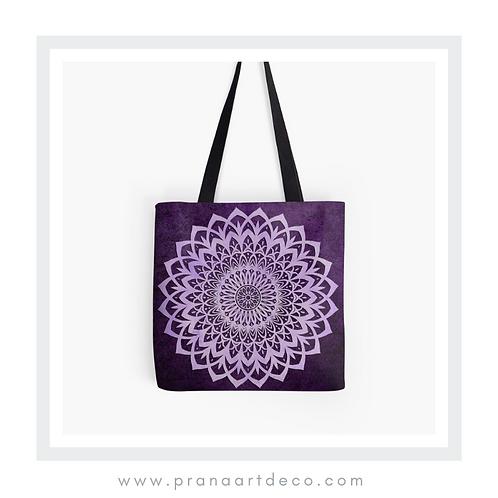 Lilac & Purple Mandala Flower on Tote Bag
