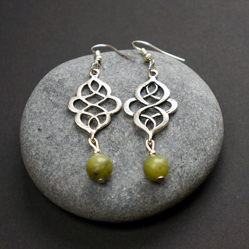 Celtic Knot Earrings With Connemara Marble
