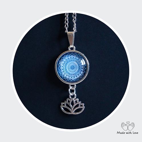 Blue Mandala Flower Necklace - Round Pendant