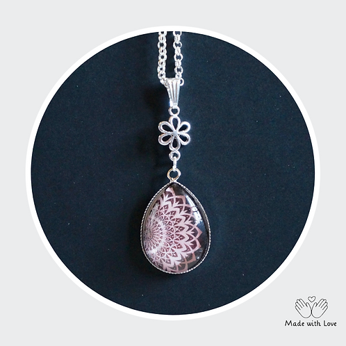 Pink & Brown Tear Drop Mandala Flower Necklace