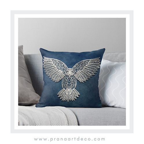Owl Of The Celts on Throw Pillow)