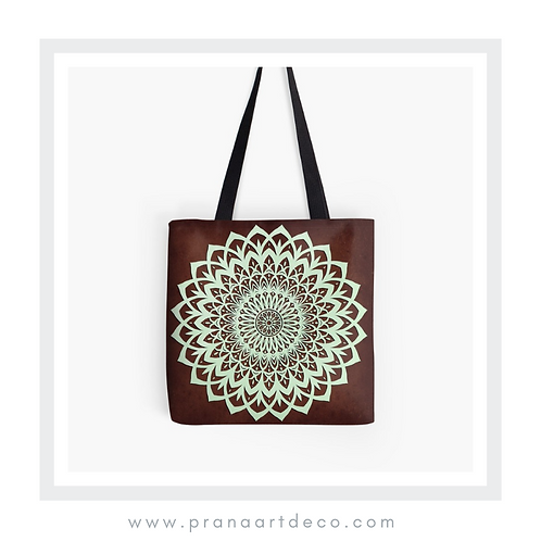 Mint And Brown Mandala Flower on Tote Bag