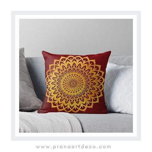 Orange & Red Mandala Flower on Throw Pillow