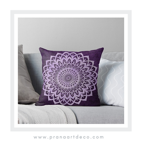 Lilac & Purple Mandala Flower on Throw Pillow