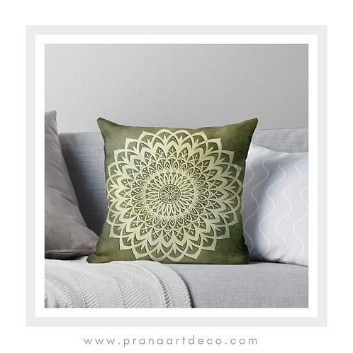 Green Mandala Flower on Throw Pillow