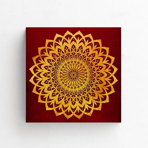 Yellow/Orange and Red Mandala Flower on Poster (42 x 42 cm)