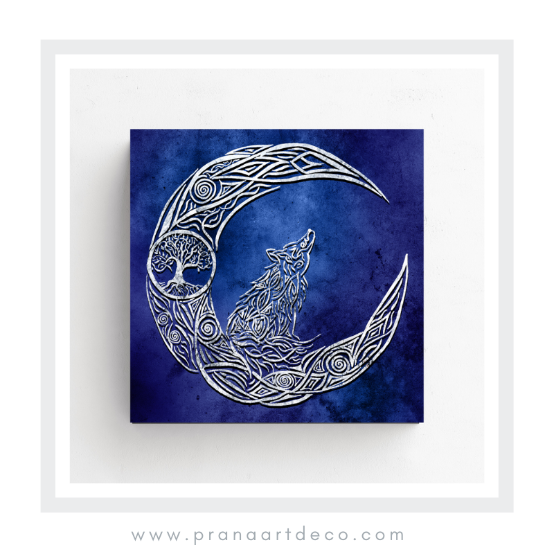 The Wolf and The Moon, Tree Of Life, Wolf, Wolf spirit animal, moon, intuition, animal spirit, animism, artwork, drawing, digital art