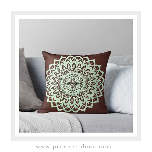 Brown and Mint Mandala Flower  on Throw Pillow