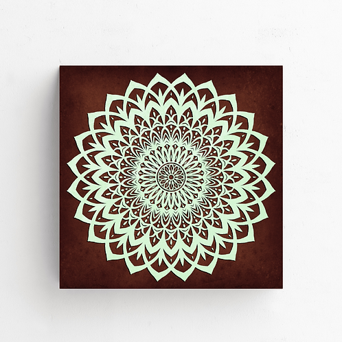Mint And Brown Mandala Flower on Poster