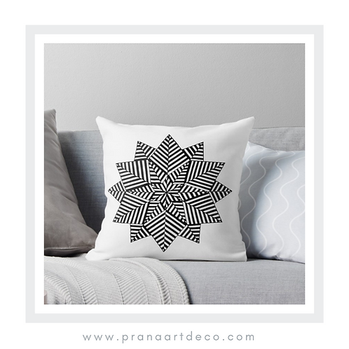 Nested 6 Pointed Stars on Throw Pillow