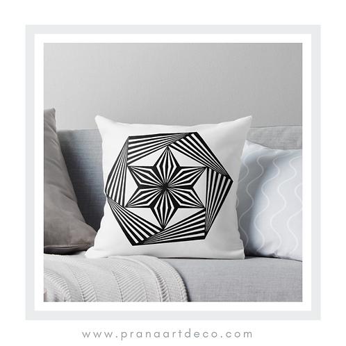 Trippy Hexagon on Throw Pillow