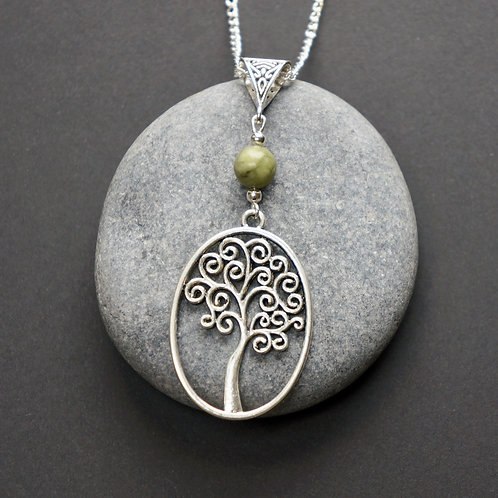 Tree Of Life Necklace with Connemara Marble Bead - Celtic Jewellery - Handcrafted Pendant and Necklace
