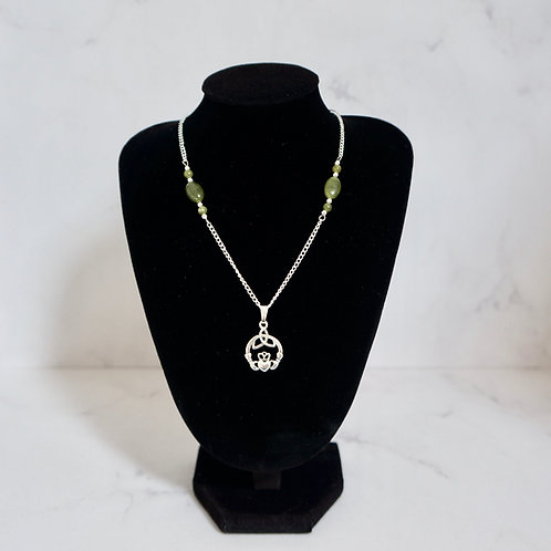 Claddagh Necklace with Connemara Marble