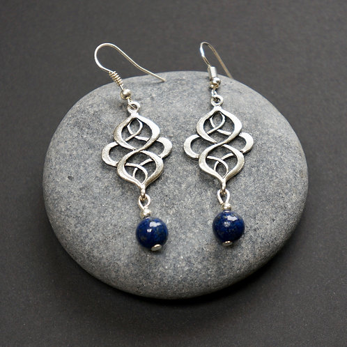 Celtic Knot Earrings with Lapis-Lazuli Beads