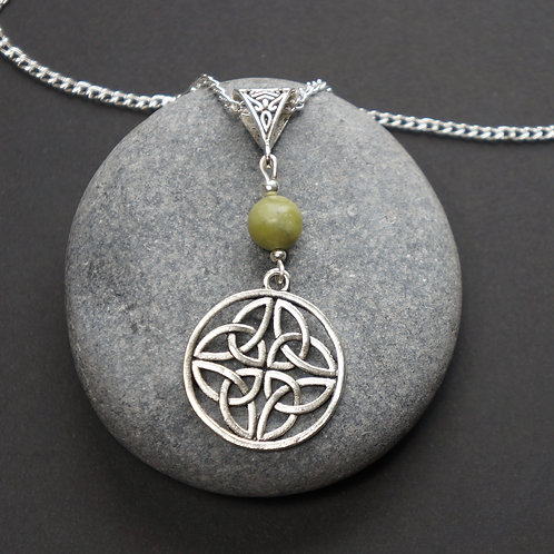 Celtic Triquetras Necklace with Connemara Marble Bead - Celtic Jewellery - Handcrafted Pendant - Necklace