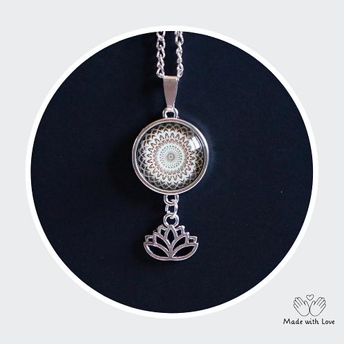 Mint & Brown Mandala Flower Necklace - Round Pendant