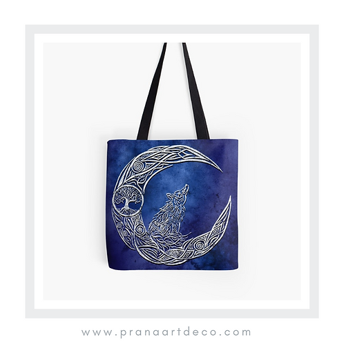 The Wolf & The Moon on Tote Bag