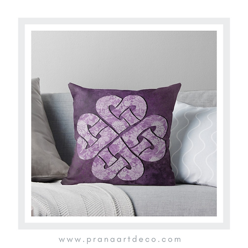 Hearts Celtic Knots on Throw Pillow
