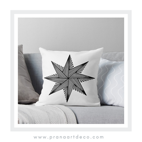8 Pointed Star on Throw Pillow