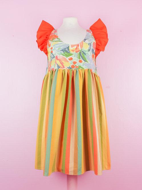Fresh peach - POP ON PINAFORE Dress - S/M