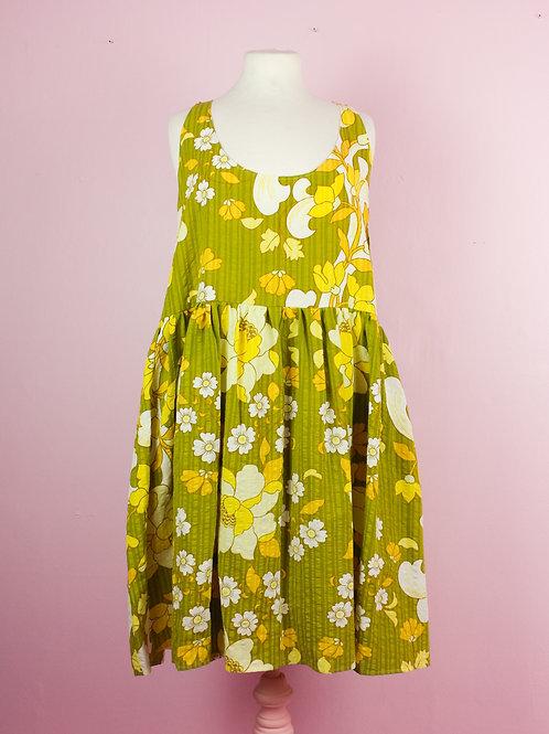 Flower fall - POP ON PINAFORE DRESS - L/XL