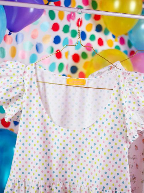 Rainbow dots daze - Frilly POP ON Pinafore dress
