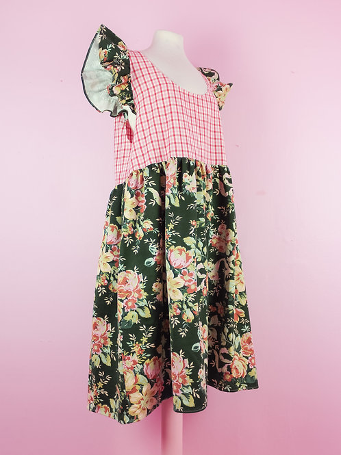 English rose - POP ON PINAFORE dress L/XL