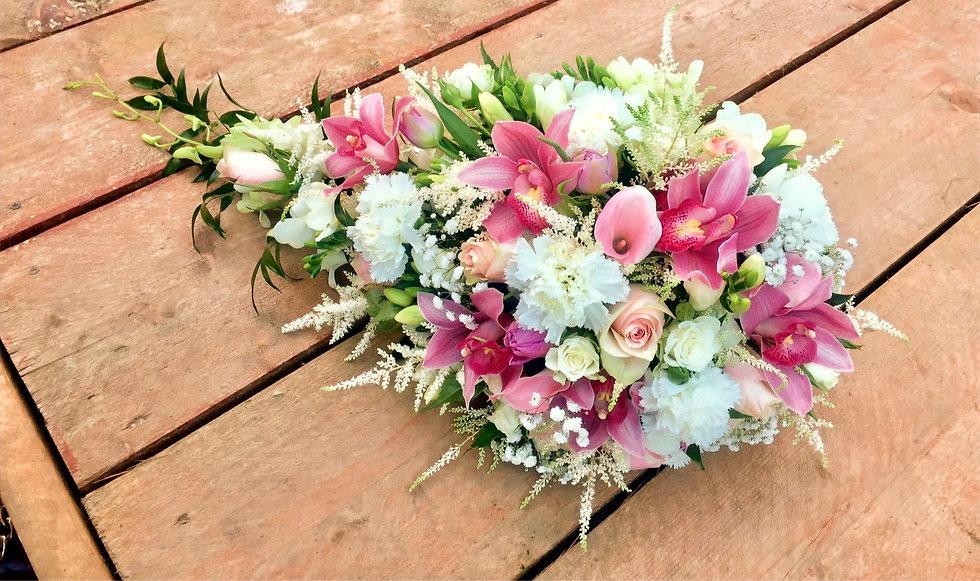 teardrop , calla lilies, orchids