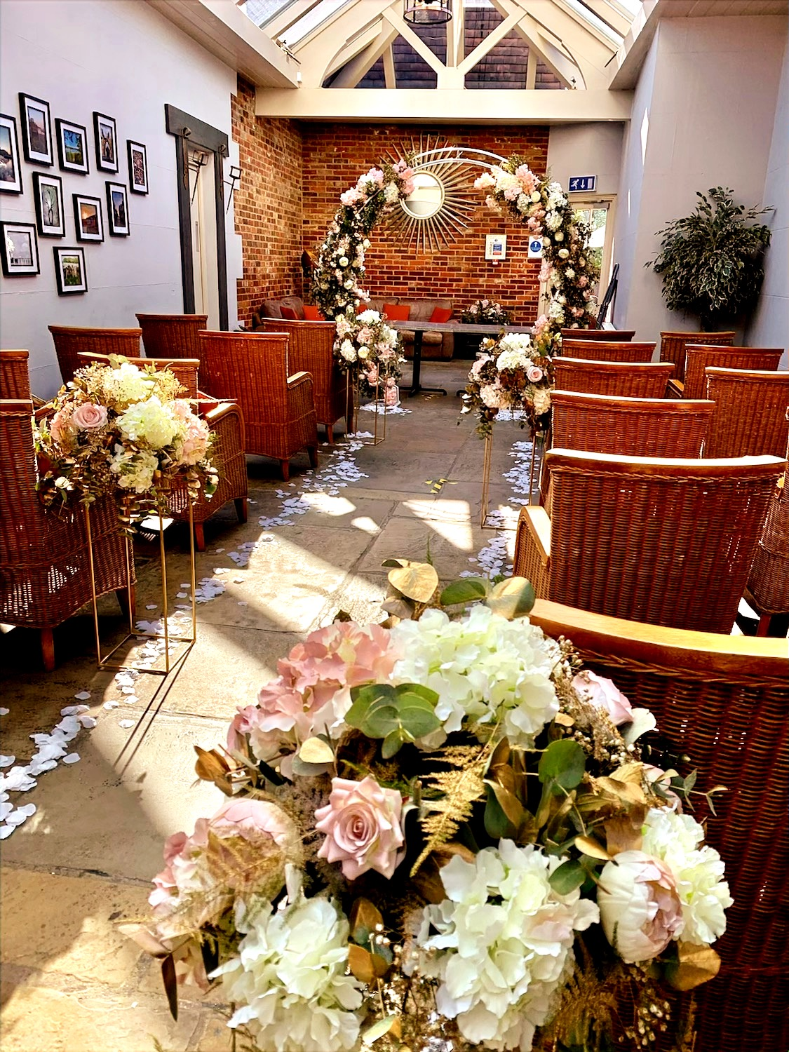 table flowers can be used down aisle for ceremony