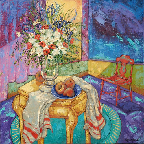 Bourdeaux - Yellow Table With red Chair