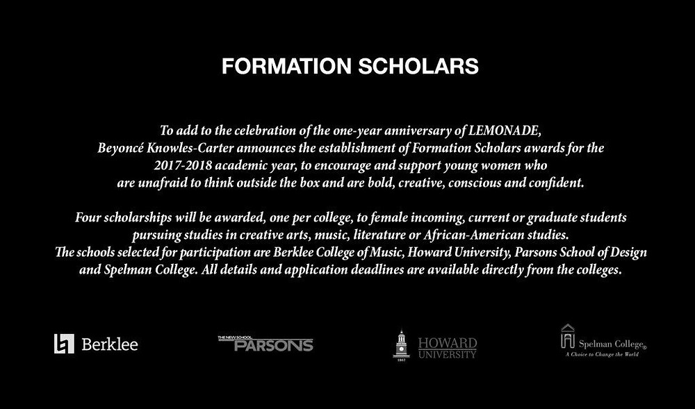 Beyonce Formation Scholars