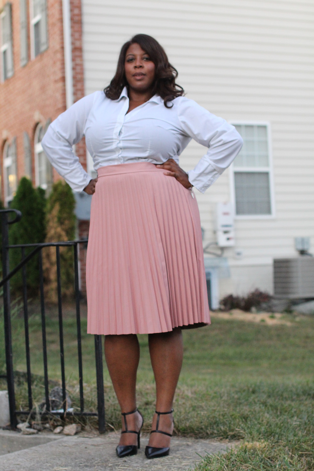 pink, pleated faux leather skirt from the Ashley Nell Tipton collection with J.C. Penny
