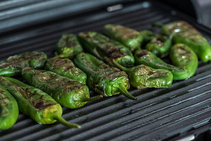 Grilled green bell peppers on electric grill spanish style. Close up view.3.jpg
