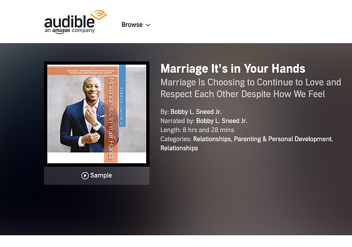 Audiobook, Marriage It's In Your Hands avalible on audible and itunes.