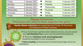 Christmas refuse collections timetable