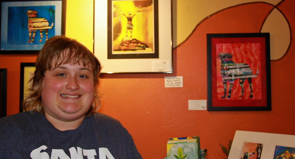 A Developmentally Disabled Woman Shows Off her Artwork
