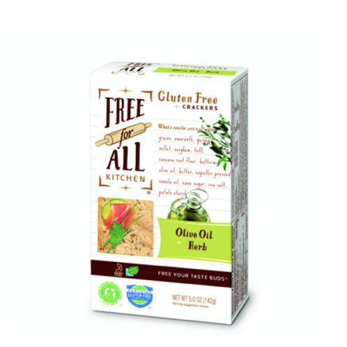 Free For All Kitchen Gluten Free Crackers, Olive Oil & Herb